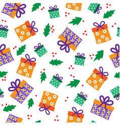 Christmas seamless pattern multicolored boxes vector
