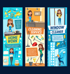 cleaning banners with woman and household tools vector image