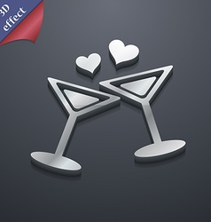 Cocktail in glass with hearts icon symbol 3D style vector