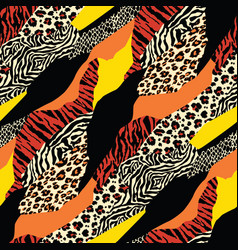 colored wild animal skins patchwork wallpaper vector image