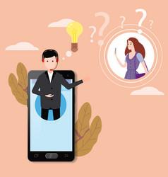 Concept online assistant on smartpnone customer vector
