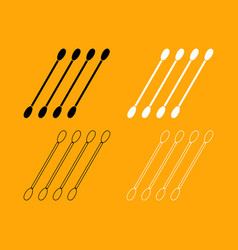 Cotton swabs set black and white icon vector