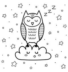 Cute sleeping owl on cloud coloring page vector