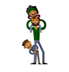 Dad holding his son and daughter on isolated white vector