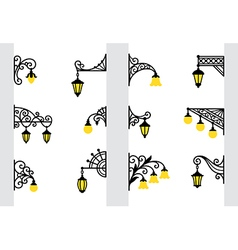 Decorative stylized wall lanterns vector