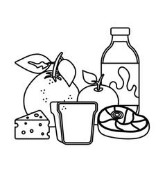 delicious milk bottle with healthy food vector image