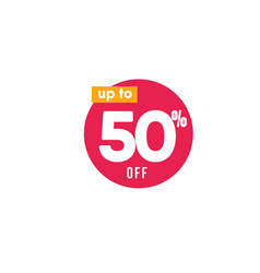Discount up to 50 off label template design vector