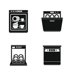 Dishwasher machine kitchen icons set simple style vector