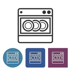 Dishwashing machine line icon in different vector