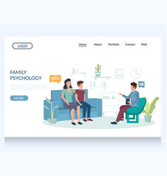Family psychology website landing page vector