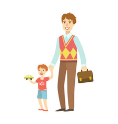 Father holding small boy by the hand vector