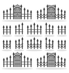 fence gates icon set symbol vector image