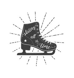 Figure skate typographic poster vector