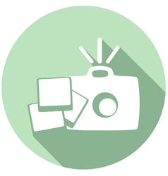 flat camera icon with long shadow vector image