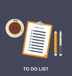 flat of to-do list vector image