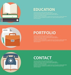 Flat style business portfolio contact and vector image