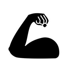 Flexed bicep glyph icon vector
