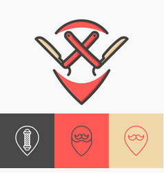 four minimalistic pointers for barber shop vector image