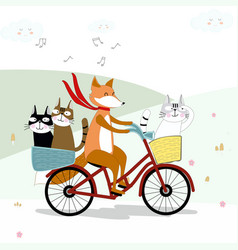 fox ride bicycle with cat cartoon vector image