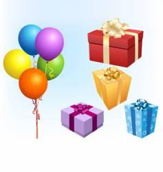 gift box and balloon vector image