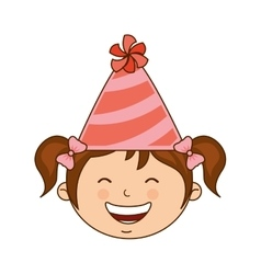 girl with hat party icon vector image