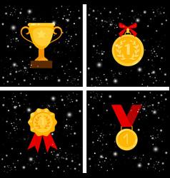 gold awards set vector image