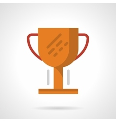 Golden cup flat color design icon vector image