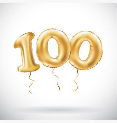 Golden number 100 hundred metallic balloon party vector