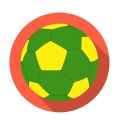 Green soccer ball icon in flat style isolated on vector image