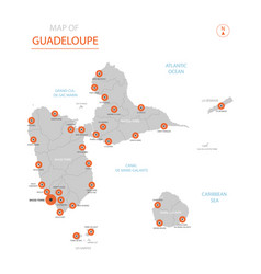 guadeloupe map with administrative divisions vector image