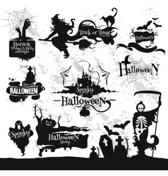 Halloween Friday 13 horror party decorations set vector image