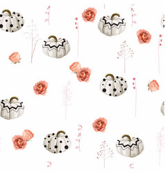 halloween pattern with pumpkin and roses vector image