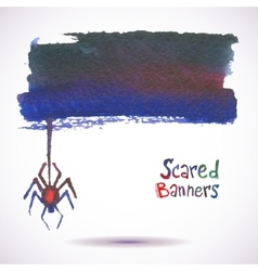 Halloween watercolor banner Spider on the Web vector