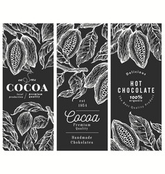 Hand drawn cocoa design template cacao plants on vector