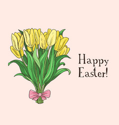 hand drawn easter gift card with tulips vector image