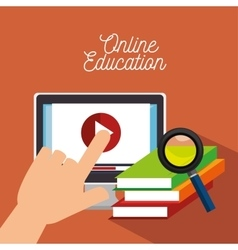 Hand touch monitor education online icon vector