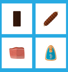 Icon flat food set of meat fillet chocolate bar vector