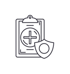 insurance line icon concept insurance vector image
