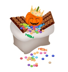 Jack-o-Lantern Pumpkins with Candies and Chocolate vector image vector image