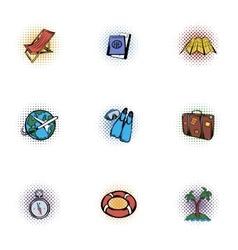 Journey icons set pop-art style vector