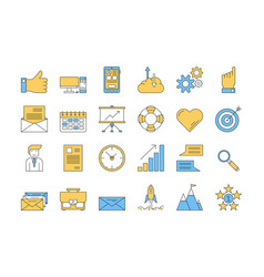 linear color icon set 1 - business vector image