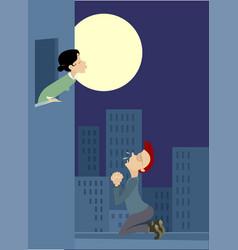 Love couple rendezvous under moon vector
