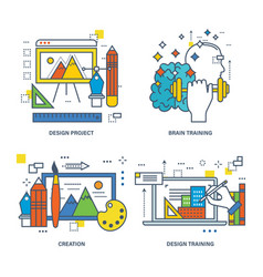 Modern training design training training brain vector