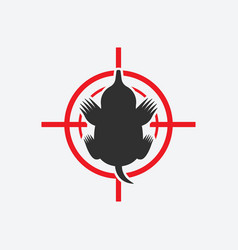 Mole silhouette animal pest icon red target vector