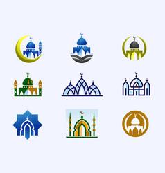 mosque color set vector image