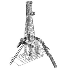 Oil rig concept rendering of 3d vector