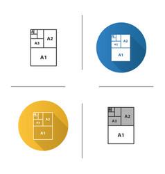 Paper sizes icon vector