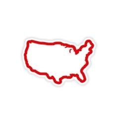 Paper sticker map of USA on white background vector