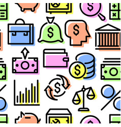pattern of a set of financial icons vector image