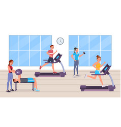 people having workout in gym vector image